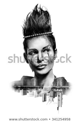 ダブル 暴露 女性 創造 化粧 市 ストックフォト © amok