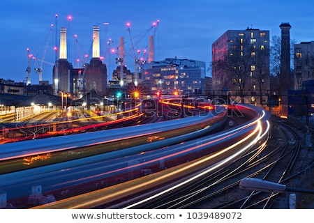 Night scene railroad and industrie buildings Stock photo © w20er