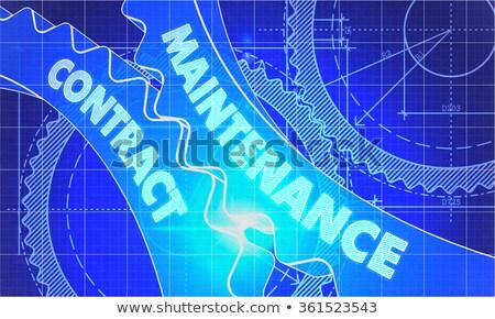 Onderhoud contract versnellingen blauwdruk stijl mechanisme Stockfoto © tashatuvango