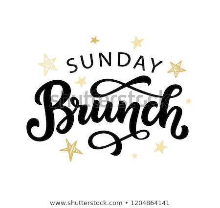 Brunch kép üzenet nap kék reggeli Stock fotó © cteconsulting