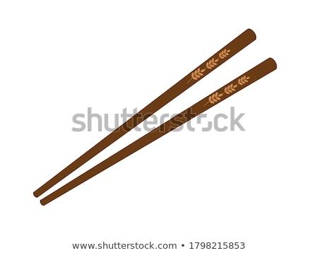houten · schotel · ingesteld · rijst · voorraad · foto - stockfoto © nalinratphi