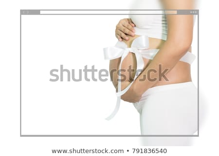 Hamile göbek şerit aile eller Stok fotoğraf © pedromonteiro