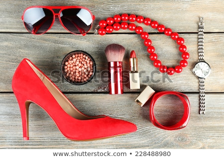 Essentials fashion woman objects on wooden background Stock photo © vlad_star