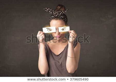 Cool youngster looking with a paper hand drawn eyes Stock photo © ra2studio