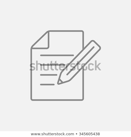 Сток-фото: блокнот · карандашом · линия · икона · уголки · веб