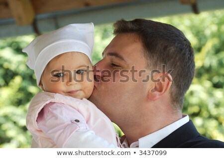 father hugging his 9 month old baby Stock photo © meinzahn