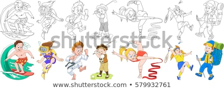 A drawing of a boy snorkeling Stock photo © bluering