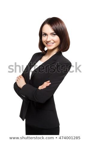Sorridente mulher de negócios retrato brasão isolado Foto stock © restyler