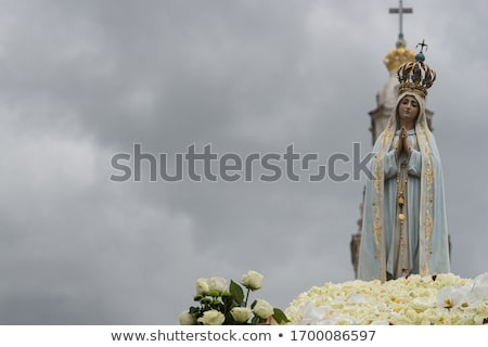 white mary statue basilica of lady of rosary fatima portugal stock photo © billperry