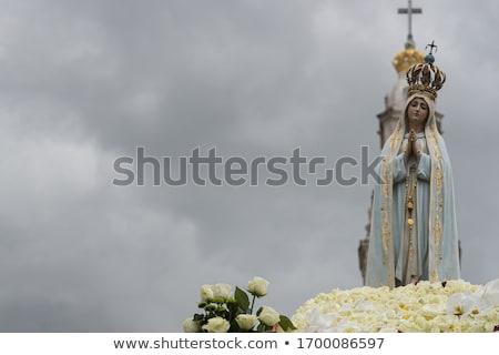 белый статуя базилика Lady четки Португалия Сток-фото © billperry