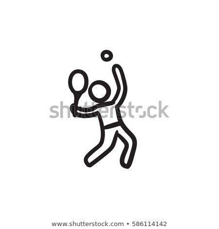 Emberek játszik tenisz illusztráció fehér fitnessz Stock fotó © bluering