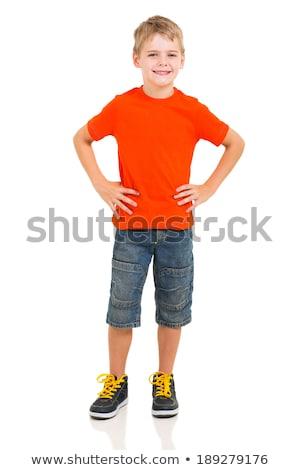 Jongen handen heupen teen kind permanente Stockfoto © lovleah