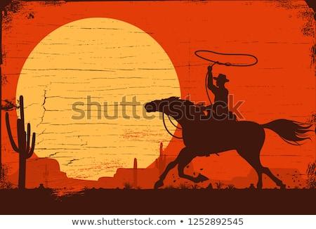 родео Cowboy закат иллюстрация природы лошади Сток-фото © adrenalina