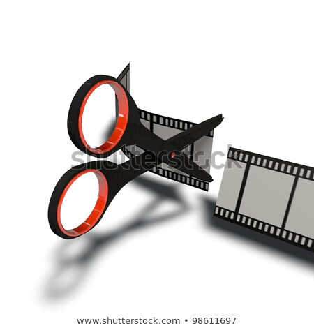 Scissors and film strip as video editing concept Stock photo © m_pavlov