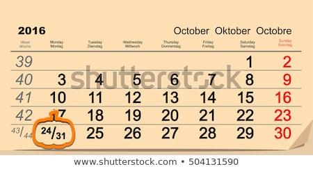 October 31 2016 Halloween. Date of wall calendar and pumpkin Stock photo © orensila