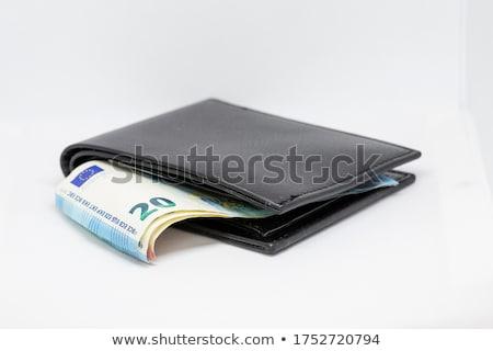 Barna bőr pénztárca pénz Euro bent Stock fotó © vlad_star