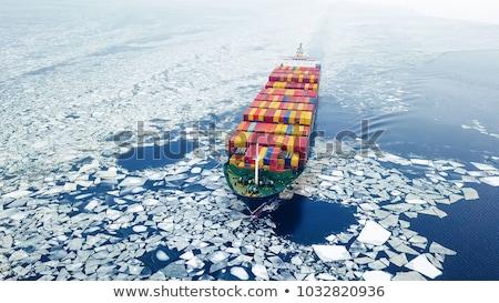 Porto navi inverno congelato acqua mare Foto d'archivio © Klinker