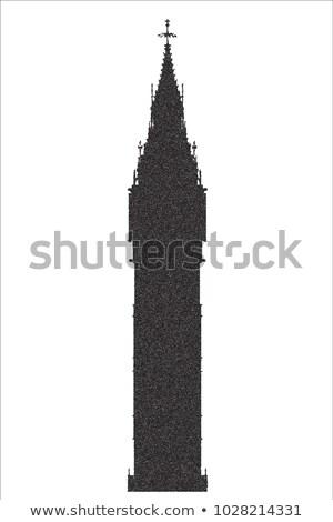 Big Ben Stipple Silhouette Stock photo © Bigalbaloo