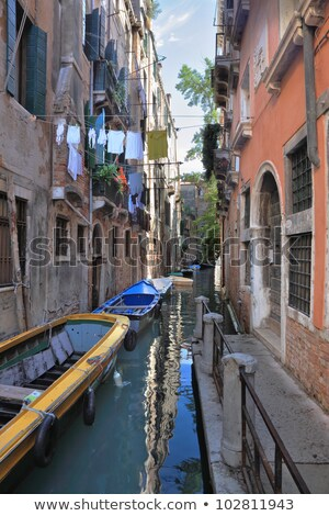 Kleding waslijn smal straat Venetië Italië Stockfoto © meinzahn