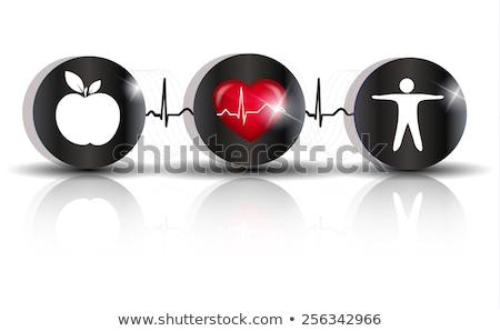 cardiologie · gezondheidszorg · symbolen · hartslag · ritme · gezonde · voeding - stockfoto © tefi