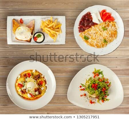 Vier kaas gebakken plaat mais vork Stockfoto © monkey_business