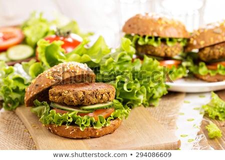vejetaryen · Burger · öğle · yemeği · sebze · yemek - stok fotoğraf © m-studio