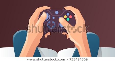 homme · jouer · jeu · vidéo · asian · heureux · télévision - photo stock © rastudio