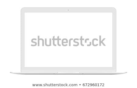 plata · ordenador · portátil · aislado · horizonte · campo · de · hierba - foto stock © kayros