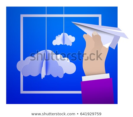 avión · icono · Cartoon · estilo · aislado · blanco - foto stock © m_pavlov