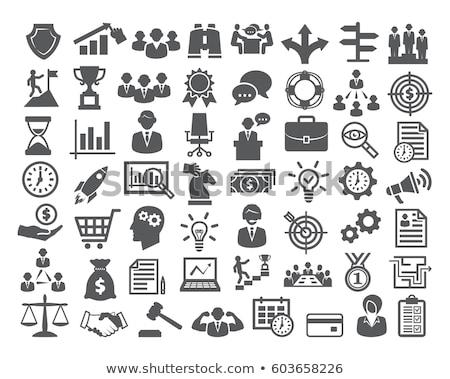 Affaires icônes papier internet orange suivre Photo stock © ordogz