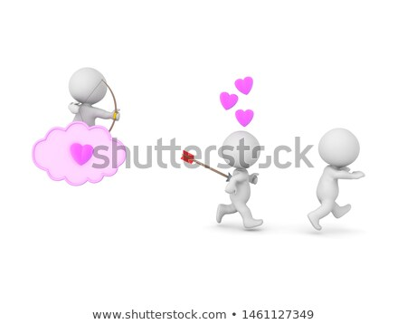 conceptual image of an attractive couple chasing somebody stock photo © majdansky