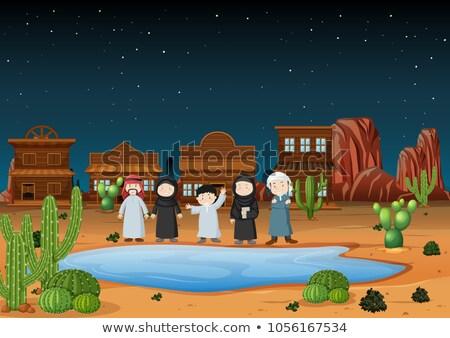 Arab férfi western város illusztráció tájkép Stock fotó © bluering