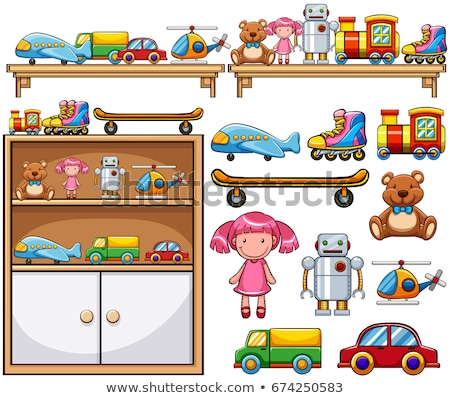 robot and dolls on wooden shelf stock photo © bluering