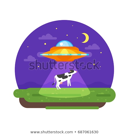alien ship truing to abduct a cow at night stock photo © curiosity