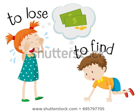 Opposite wordcard for lose and find Stock photo © bluering