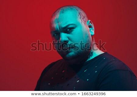 töprengő · piros · szakállas · férfi · stúdió · portré - stock fotó © julenochek