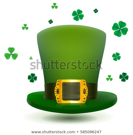 Green top cylinder hat with gold buckle. Luck leaf clover symbol Patricks Day stock photo © orensila