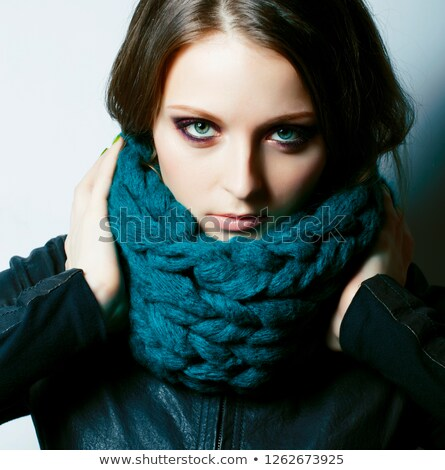 young pretty real woman in sweater and scarf all over her face s Stock photo © iordani