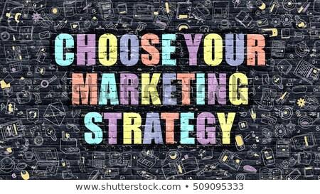 Escolher estratégia de marketing negócio alto-falante balão de fala Foto stock © tashatuvango