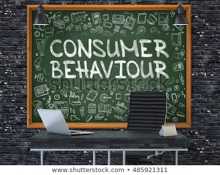 consumer behaviour   hand drawn on green chalkboard 3d stock photo © tashatuvango