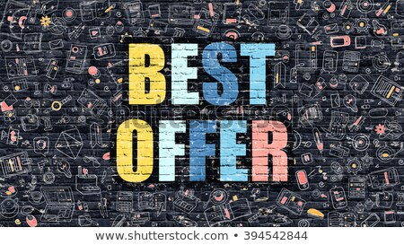Multicolor Best Offer on Dark Brickwall. Doodle Style. Stock photo © tashatuvango