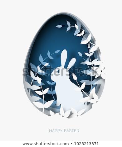 Húsvét kártya sablon tojások kék ég illusztráció Stock fotó © colematt