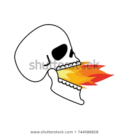 Koponya nyitva száj tűz fej csontváz Stock fotó © popaukropa