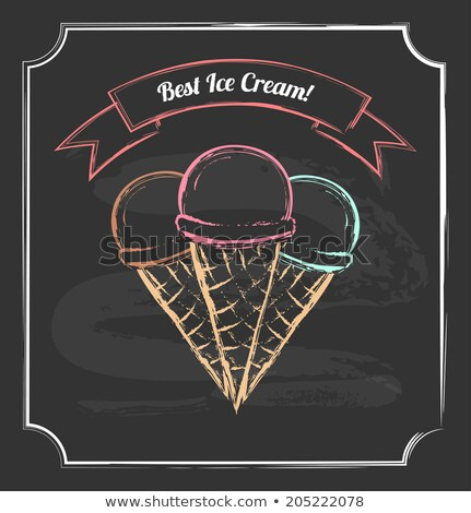 Three ice cream chalk drawing Stock photo © blackmoon979
