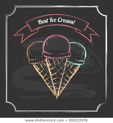 Three ice cream chalk drawing Stock photo © blackmoon979