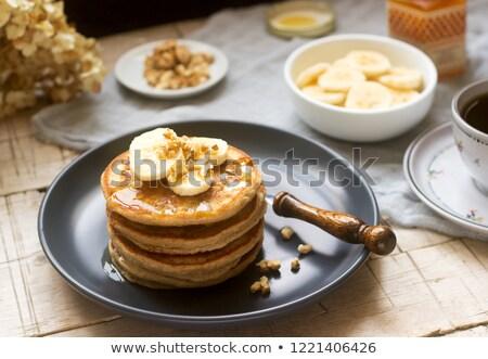 Eigengemaakt volkoren banaan pannenkoeken vruchten Stockfoto © mpessaris