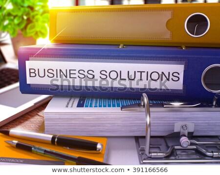 business solutions on file folder blurred image stock photo © tashatuvango