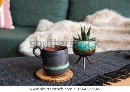 Vert céramique mug impression entreprise logo Photo stock © ESSL