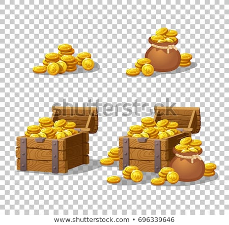 Wooden chest and gold coins Stock photo © bluering