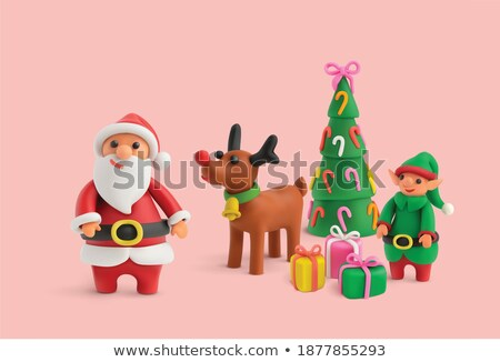 Vector cijfer christmas sok hand schaduw Stockfoto © Sonya_illustrations
